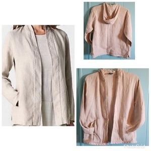 Eileen Fisher Hooded Linen Blend Jacket